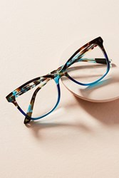 Anthropologie Mauve Tortoise Square Reading Glasses Blue Motif