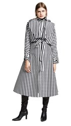Paskal Belted Trench Coat Black White Check