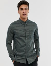 Burton Menswear Skinny Fit Oxford Shirt In Khaki Green