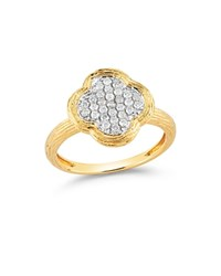 Bloomingdale's Diamond Clover Ring In Textured 14K Yellow Gold .20 Ct. T.W. White Gold