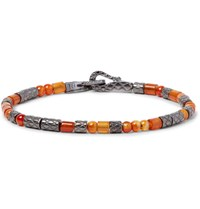 Bottega Veneta Oxidised Sterling Silver Carnelian Bracelet Orange