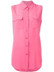 Equipment Sleeveless Plain Shirt Pink Purple
