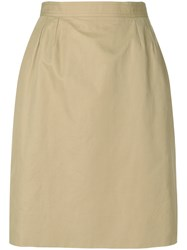 Yves Saint Laurent Vintage High Rise Straight Skirt Nude And Neutrals