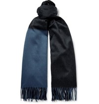 Begg And Co Arran Colour Blocked Fringed Cashmere Scarf Charcoal
