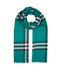 Burberry Shoes And Accessories Gauze Giant Check Scarf Female Green