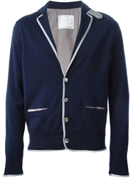 Sacai Luck Notched Lapels Cardigan Blue