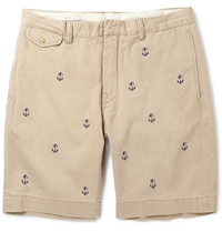 Polo Ralph Lauren Slim Fit Anchor Embroidered Cotton Shorts Gray