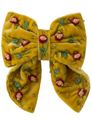 Anouki June Silk And Rayon Embroidered Hair Bow Yellow
