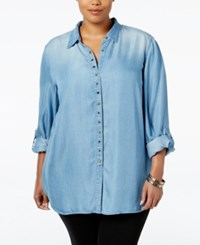 Styleandco. Style Co. Plus Size Grommet Denim Shirt Only At Macy's Sun Wash