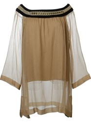 Alberta Ferretti Long Loose Fit Boat Neck Weave Detail Blouse Nude And Neutrals