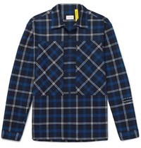 Moncler Genius 7 Fragment Logo Print Checked Cotton Flannel Shirt Blue
