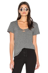 Pam And Gela Destroyed Scoop Neck Tee Gray