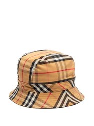 Burberry Checked Cotton Bucket Hat Camel