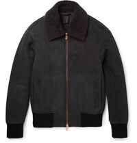 Berluti Shearling Trimmed Suede Bomber Jacket Gray