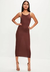 Missguided Brown 90S Neck Bodycon Maxi Dress