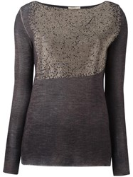Nude Gold Tone Metallic Detailing Jumper Grey
