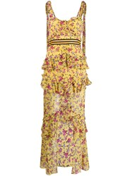 For Love And Lemons Floral Print Layered Dress Yellow