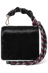 Dries Van Noten Rope And Leather Trimmed Pony Hair Shoulder Bag Black