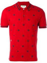 Gucci Bee And Star Polo Shirt Red