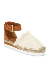 See By Chloe Glyn Frayed Canvas And Leather Ankle Strap Platform Espadrilles Natural