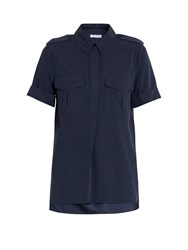 Equipment Rory Patch Pocket Silk Shirt Navy
