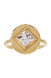 Elizabeth And James 24K Gold Plated Created White Sapphire Truitt Pinky Ring Metallic