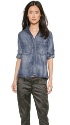 Bella Dahl Split Back Button Down Shirt Ice Wash