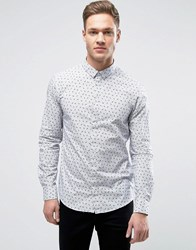 Casual Friday Shirt With Stripe And Feather Print In Slim Fit Bright White