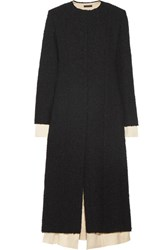 The Row Amandla Satin Trimmed Boucle Coat Black