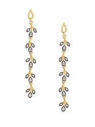 Azaara Florentine Crystal Vine Drop Earrings Gold