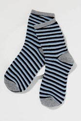 Becksondergaard Metallic Striped Ankle Socks Blue Motif