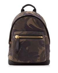 Tom Ford Men's Camouflage Print Leather Backpack Green Black