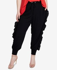 Rachel Roy Trendy Plus Size Ruffled Jogger Pants Black
