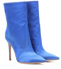 Gianvito Rossi Melanie Satin Ankle Boots Blue