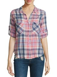 Bella Dahl Frayed Hem Plaid Shirt Rose Water