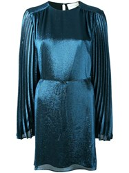 Christopher Kane Pleated Sleeve Dress Women Silk Polyester Acetate 42 Blue