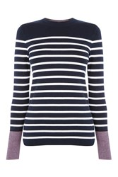 Warehouse Mini Stripe Crew Jumper Navy