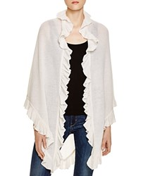 Minnie Rose Cashmere Ruffle Wrap White