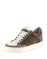 Brunello Cucinelli Suede And Leather Low Top Sneaker Gray