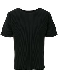Homme Plisse Issey Miyake Ribbed Effect T Shirt Polyester Black