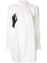 Y's Hand Beaded Embroidery Shirt White