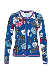 Hallhuber Cardigan With Tropical Print And Lurex Multi Coloured Multi Coloured
