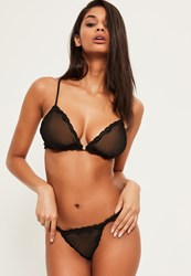 Missguided Black Fishnet And Lace Thong