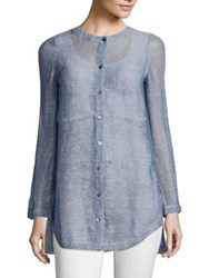 Eileen Fisher Linen Blend Mesh Shirt Chambray