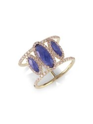 Meira T Sapphire Oval Diamond And 14K Yellow Gold Ring