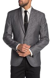Kenneth Cole Reaction Silver One Button Shawl Lapel Sport Coat 041Silver