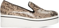 Stella Mccartney Beige Snake Embossed Binx Loafers
