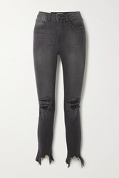 L'agence High Line Cropped Distressed High Rise Skinny Jeans Gray