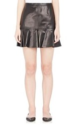 Barneys New York Lambskin Peplum Skirt Black Size 42 It
