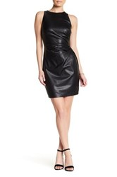 Bailey 44 Dades Valley Faux Leather Pleated Sheath Dress Black